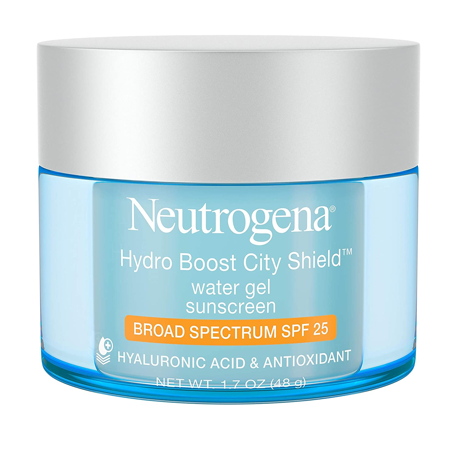 Neutrogena Hydro Boost City Shield Water Gel with Hydrating Hyaluronic Acid, Antioxidants, and Broad Spectrum SPF 25 Sunscreen, Oil-Free, Alcohol-Free, Non-Comedogenic, 1.7 oz