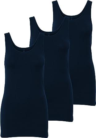 Only 15201465 - Conjunto de 3 camisetas de tirantes para mujer, color blanco, negro, gris, azul y crema Azul (Night Sky) M: Amazon.es: Ropa y accesorios