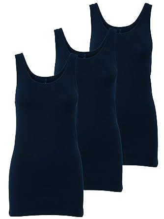 ONLY 3er Pack Damen Basic Tops Tank Top Dunkel Blau Lang Gratis Wäschenetz  B46 (XS