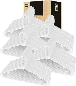 Utopia Home Black Plastic Standard Hangers for Clothes Tubular Hangers - Durable, Slim & Sleek (White, 150)