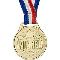 Juvale 24 piezas – Medallas ganadoras de premios en tono dorado con cinta colorida, 1.5 pulgadas de diámetro, metal, un…