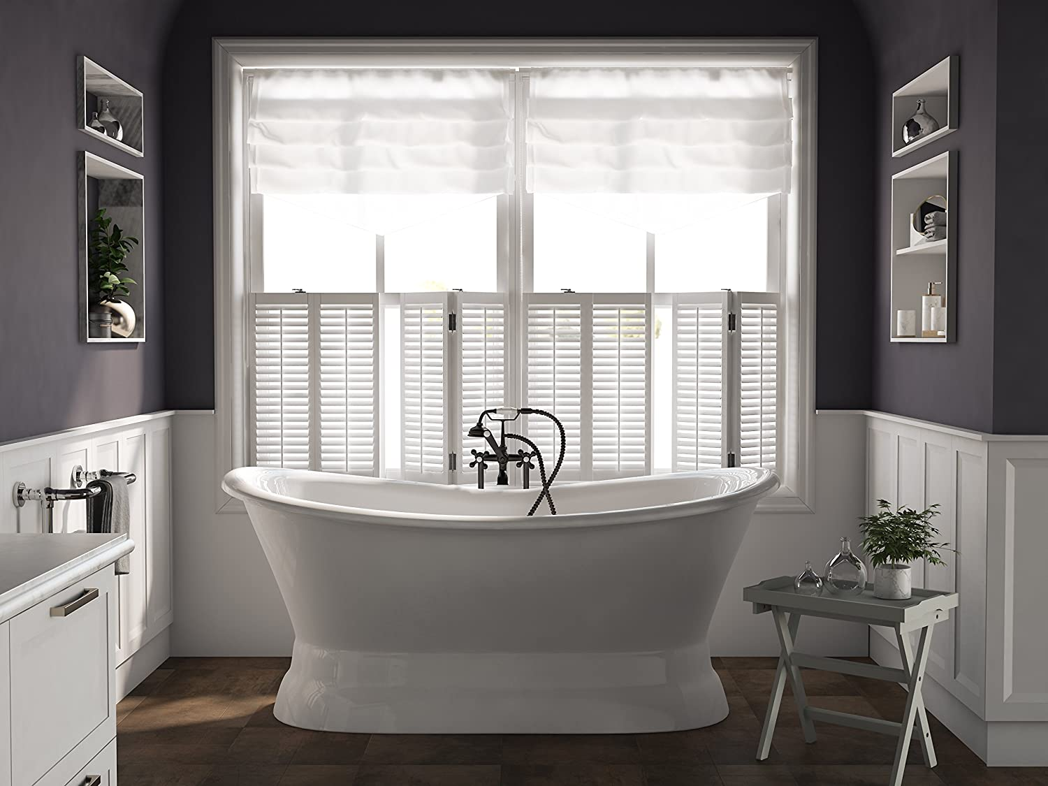 71 Cast Iron Double Ended Slipper Pedestal Tub with NO Faucet Holes- Benton