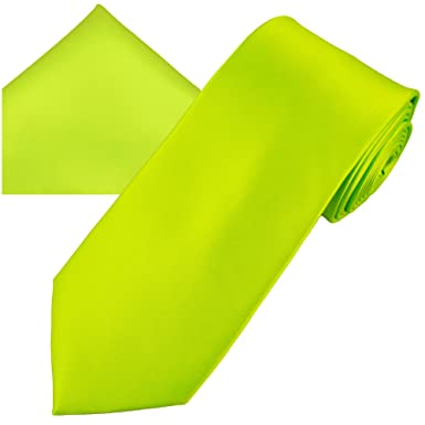 cba5a71ffa16 Image Unavailable. Image not available for. Colour: Plain Lime Green Men's  Satin Tie & Pocket Square Handkerchief Set