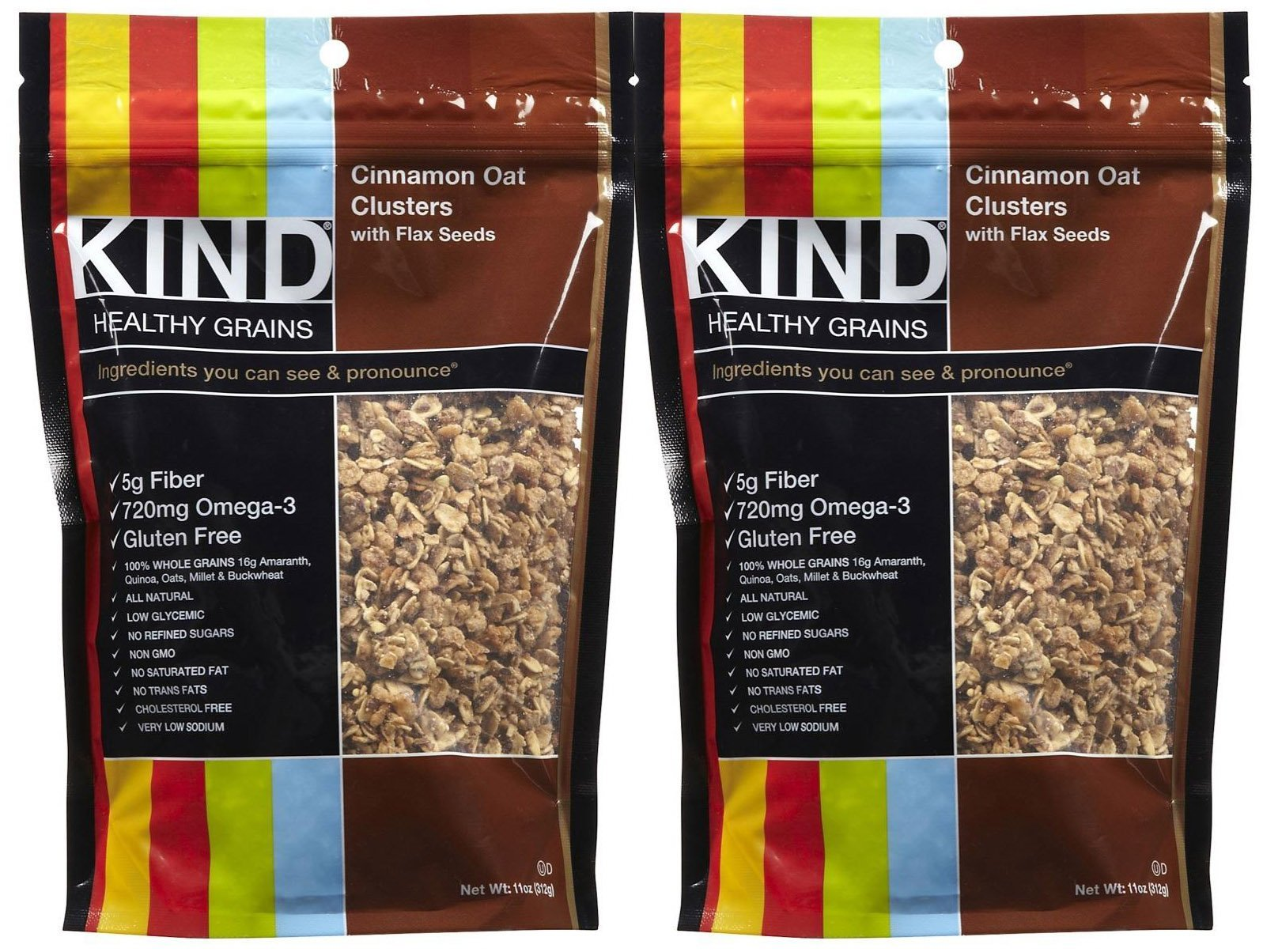 KIND Healthy Grains Clusters - Cinnamon Oat with Flax Seeds - 11 oz - 2 Pack