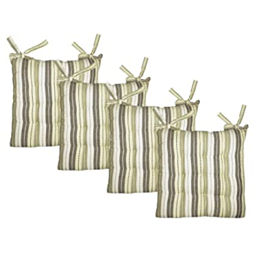 COTTON CRAFT - Set of 4-17x17 Inches - Natural Light Olive- Multi Salsa Stripe Dining Chair Pad Cushion with Ties