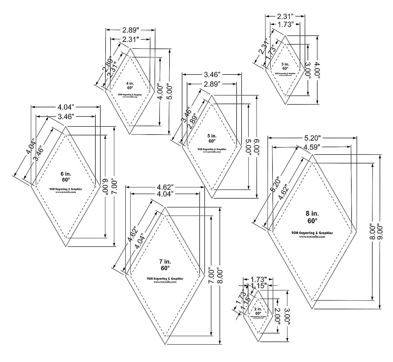 Diamond Templates 7 Piece Set 2-8 Clear 1//8 60 Degree w//Guideline Holes