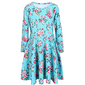 312add78a Jxstar Girls Long Sleeve Desss Kid Cat Unicorn Floral Print Outfits