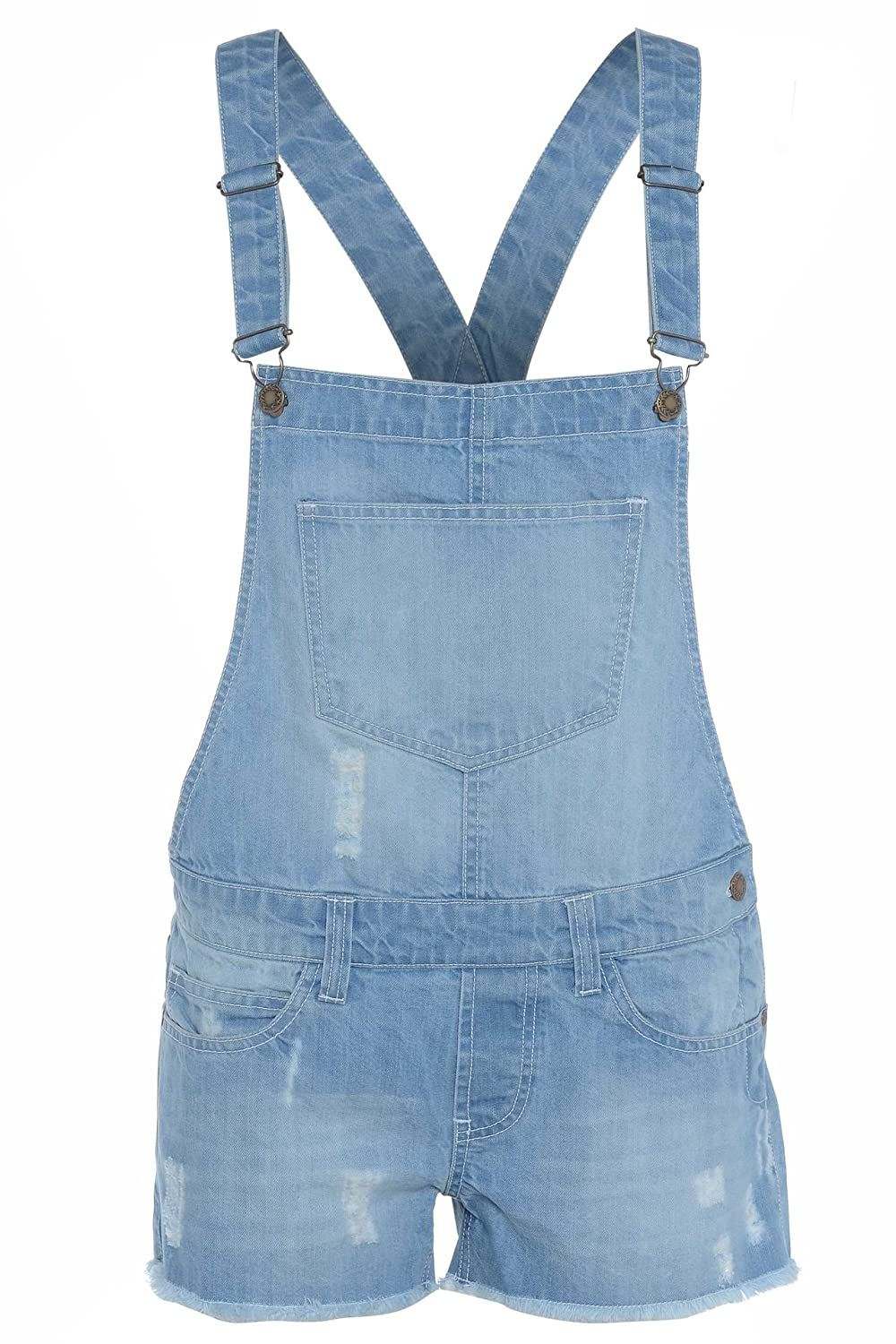 Top Fashion's Childrens Unisex Girls Light Wash Denim Short Boys Dungaree Jumpsuit Age 5-13