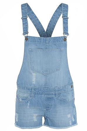 e6ff875848a9 Amazon.com  Cima Mode Women Ladies Light Wash Denim Short Pinafore Dungaree  Jumpsuit Hot Pants  Clothing