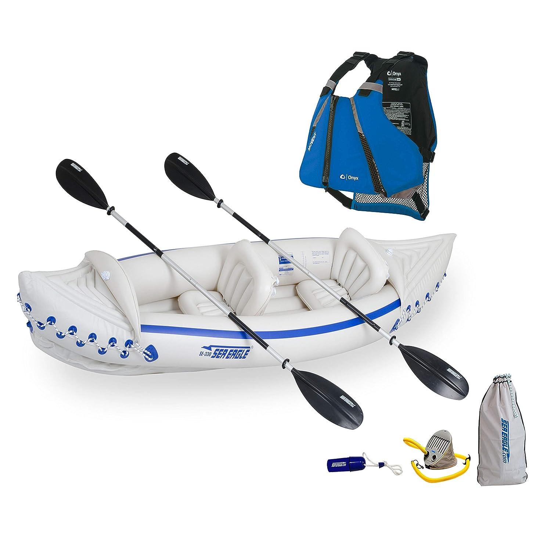 Sea Eagle 330スポーツカヤックデラックスパッケージ、オニキスムーブメントカーブベスト付き、ブルー、XL