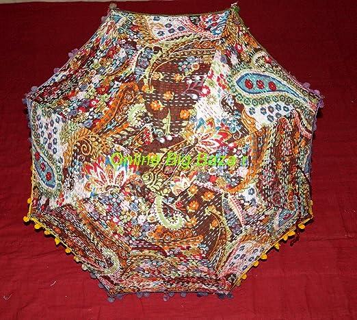 Indio hecho a mano sombrillas 100% algodón funda algodón paraguas de Fashion Multi Color bordado Boho paraguas sombrilla elegante algodón indio sol sombrilla paraguas de sol protección mujeres paraguas indio kantha: Amazon.es: