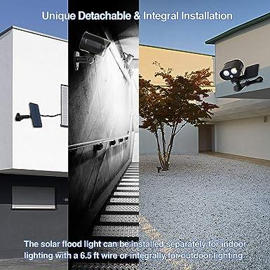 Phansthy Solar Light Outdoor Motion Sensor IP65 Waterproof Solar Powered LED Flood Security Light for Garden Porch Patio Pathway Corridor