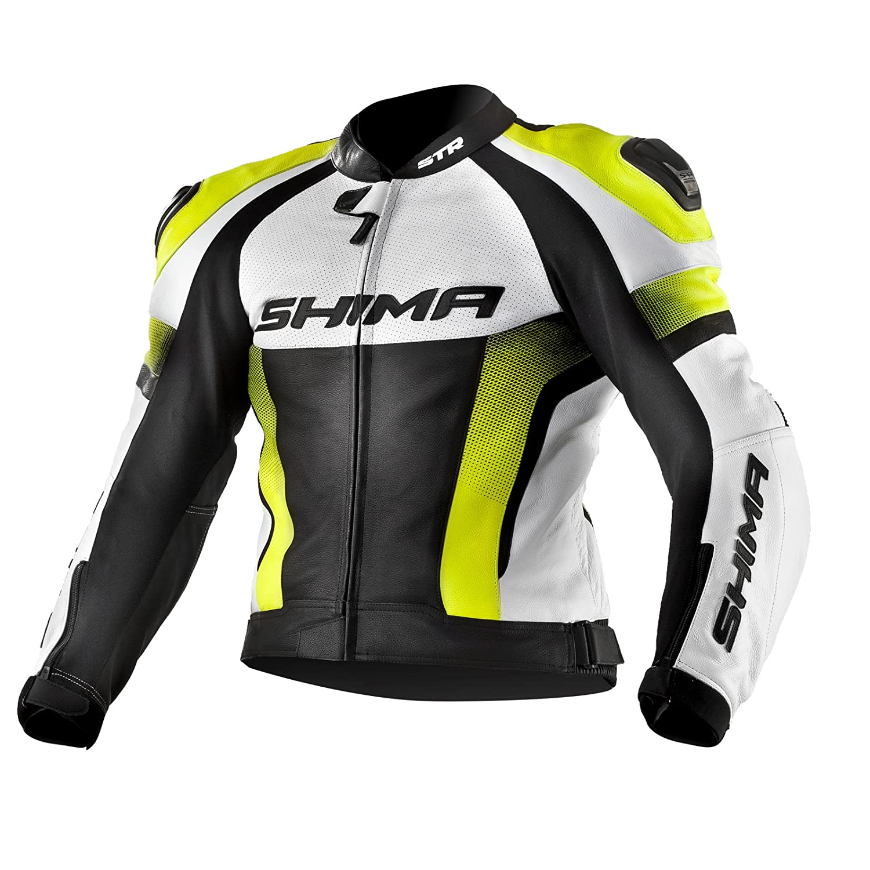 Moto Courses Perfor/é Sport Costume de moto en cuir Taille: 46-56 Fluo Jaune SHIMA STR JACKET YELLOW FLUO la veste
