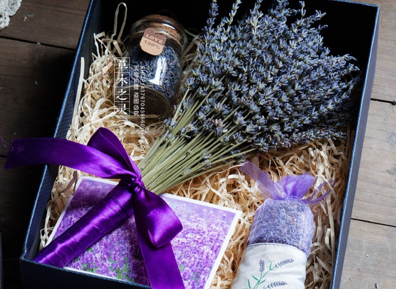 Natural Dried Lavender Sachet Gift,Dried Lavender Flower and Glass Bottle Lavender Buds