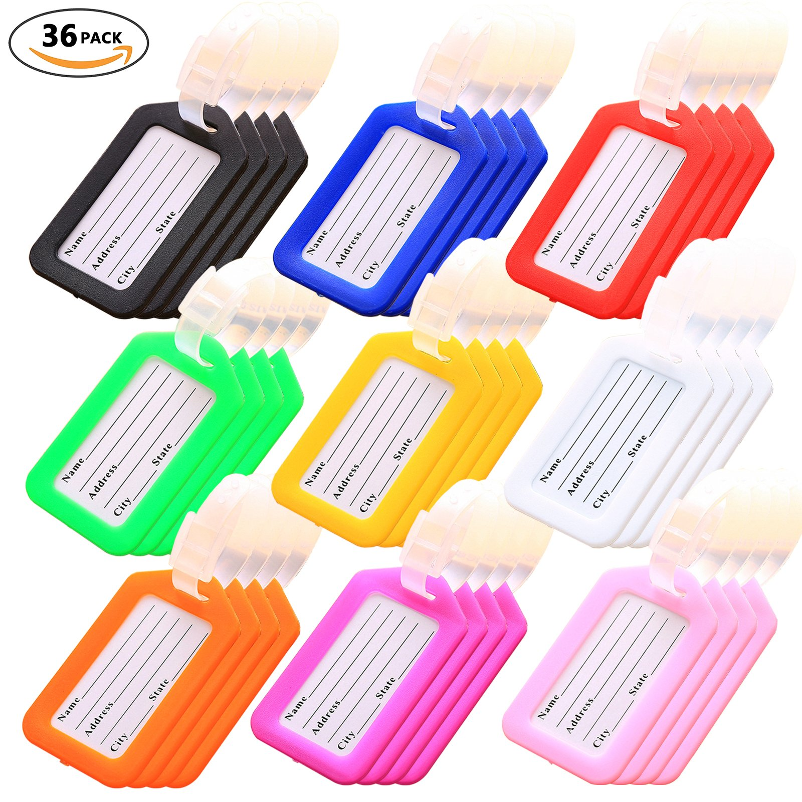 Key Tags, Identifiers Labels For Luggage Suitcases Bags, PVC Travel Baggage Tag Set 36 Pack