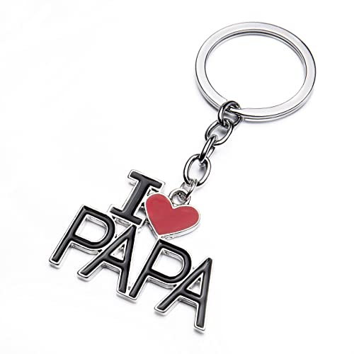 Amazon.com: bivei I Love Papa colgante de corazón llavero ...
