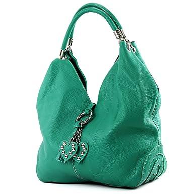 modamoda de - ital. Ledertasche Handtasche Shopper Damentasche Schultertasche Leder 330, Präzise Farbe:Rosa modamoda de - Made in Italy
