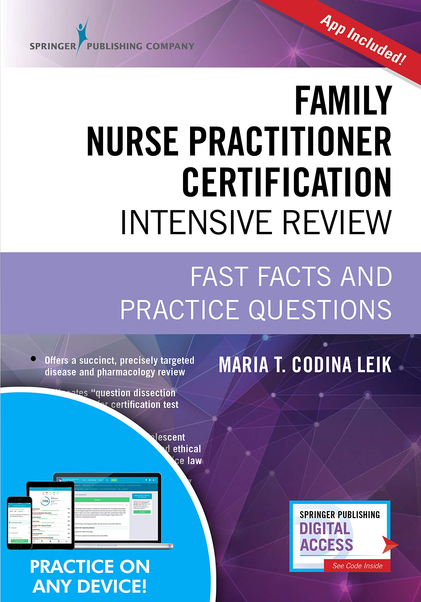 Family Nurse Practitioner Certification Intensive Review, Third Edition: Fast Facts and Practice Questions - Book and Free App - Highly Rated FNP Exam Review Book by Springer Publishing Companyy