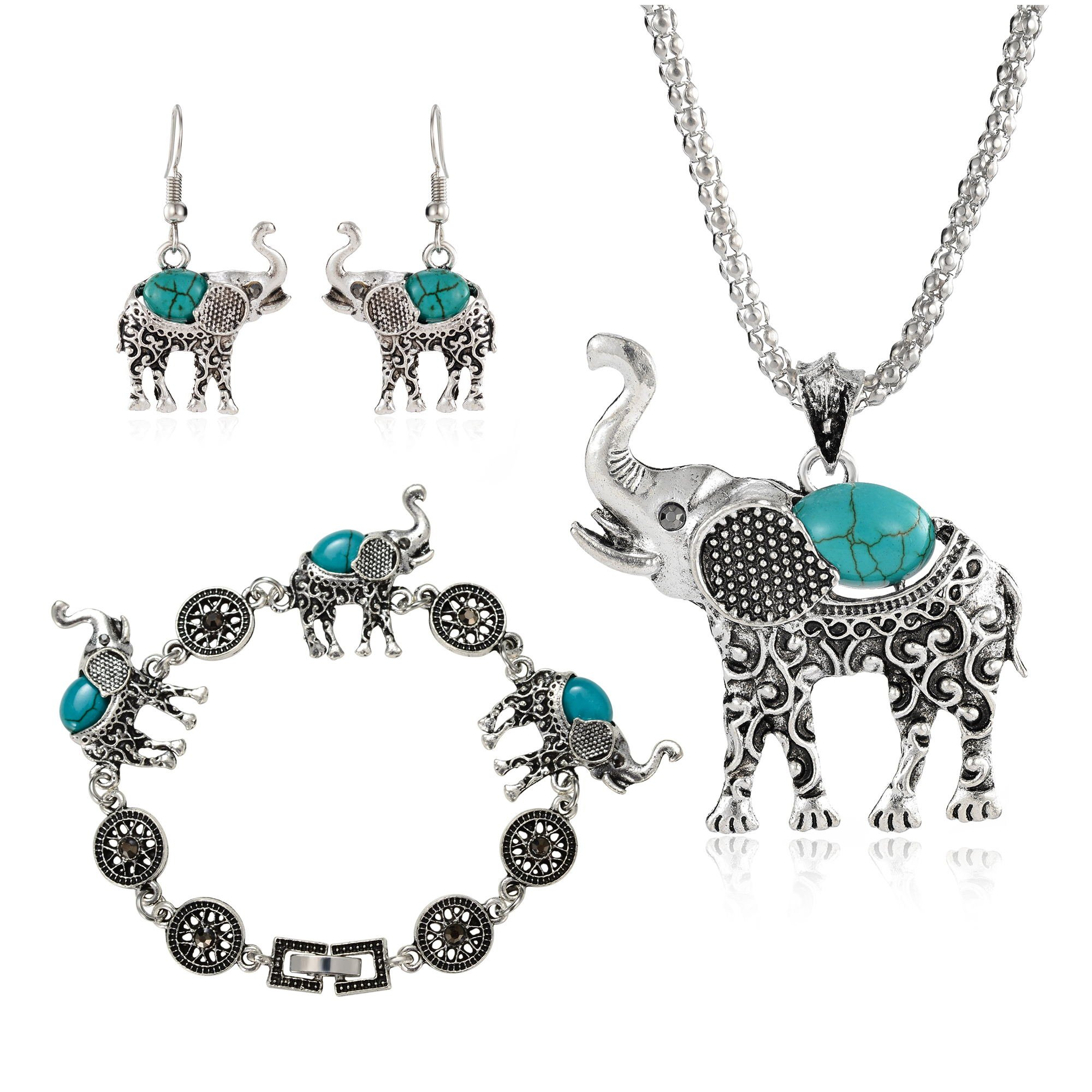 Miraculous Garden Womens Vintage Silver Ethnic Tribal Elephant Boho Pendant Necklace Drop Earrings Link Bracelet Jewelry Sets (Turquoise)