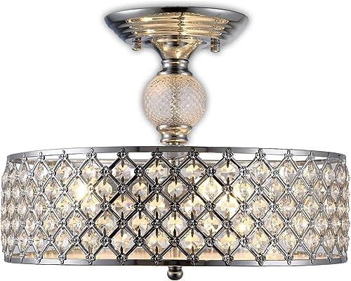 Modern Chandelier Crystal Raindrop Chandelier Lighting Flush Mount LED Ceiling Light Fixture Pendant Lamp for Dining Room Bathroom Bedroom Livingroom