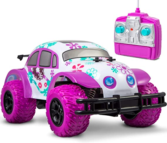 Sharper Image 1007070 Pixie Cruiser Pink and Purple RC Remote Control Car Toy for Girls with Off-Road Grip Tires Princess Style Big Buggy Crawler w/Flowers D