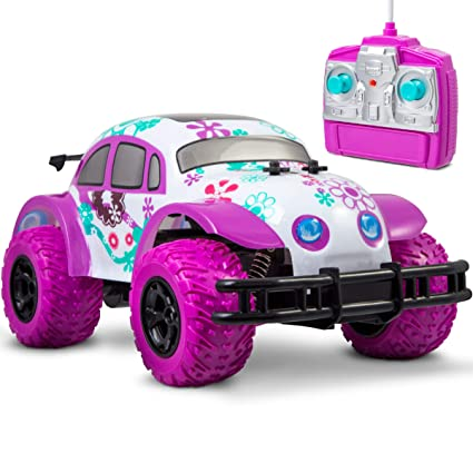 Pixie Cruiser Pink and Purple RC Remote Control Car Toy for Girls with Off-Road Grip Tires; Princess Style Big Buggy Crawler Cars Toys w/ Flowers Design Amazon.com:
