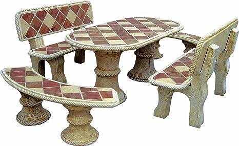 Anaparra set da tavolo in pietra ovale cm con piastrelle mod