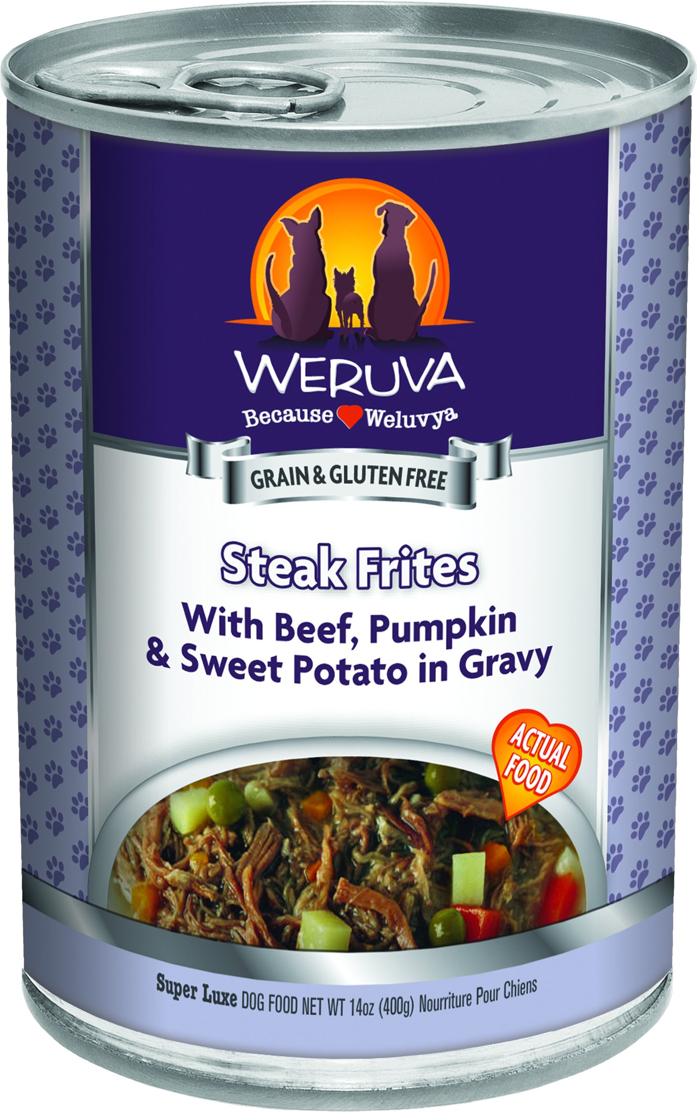 Weruva Classic Dog Food, Steak Frites with Beef, Pumpkin & Sweet Potato in Gravy, 14oz Can (Pack of 12)