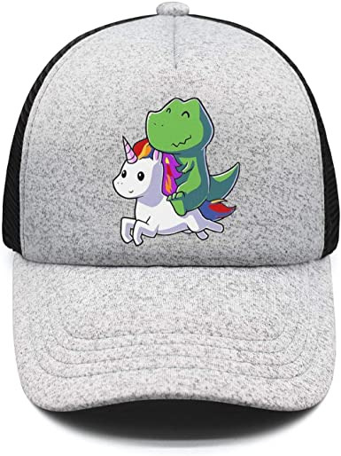 Baseball Hats Unicorn Riding Dinosaur T-Rex Adjustable Lightweight Sunscreen Truckers for Women//Men