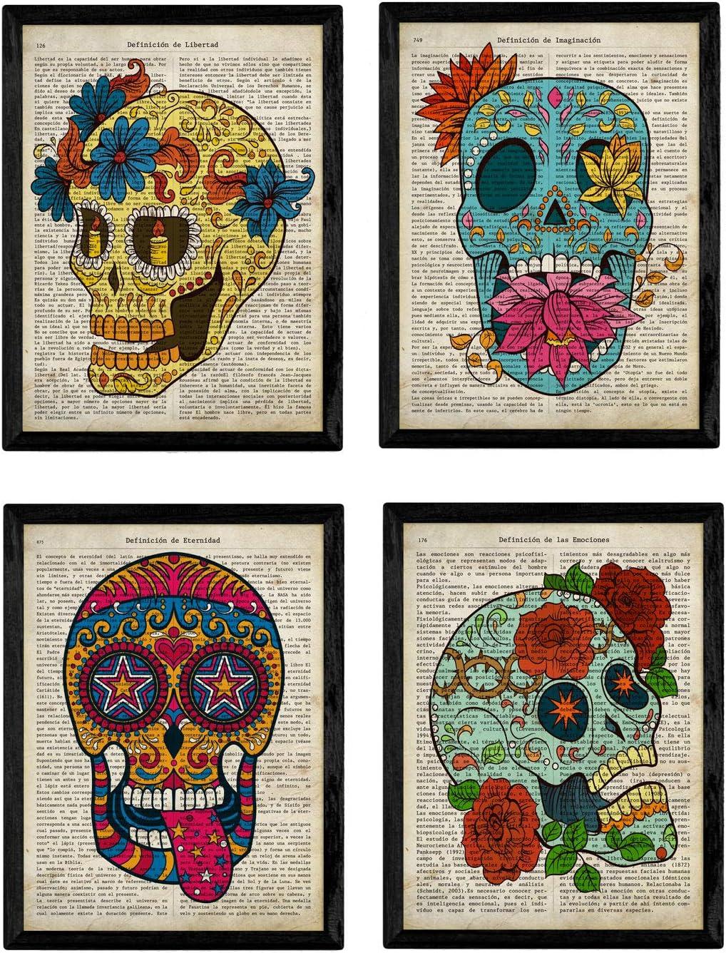 Nacnic Set de 4 láminas Coloridas Calaveras Mexicanas Sugar Skull del Día de los Muertos con definiciones. Tamaño A4. con Marco.