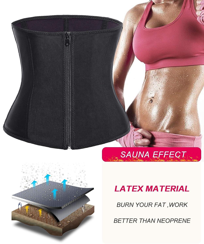 2226a9a38fc Bafully Womens Latex Tummy Control Weight Loss Waist Trainer Corset Body  Shaper with Zipper Hook Steel