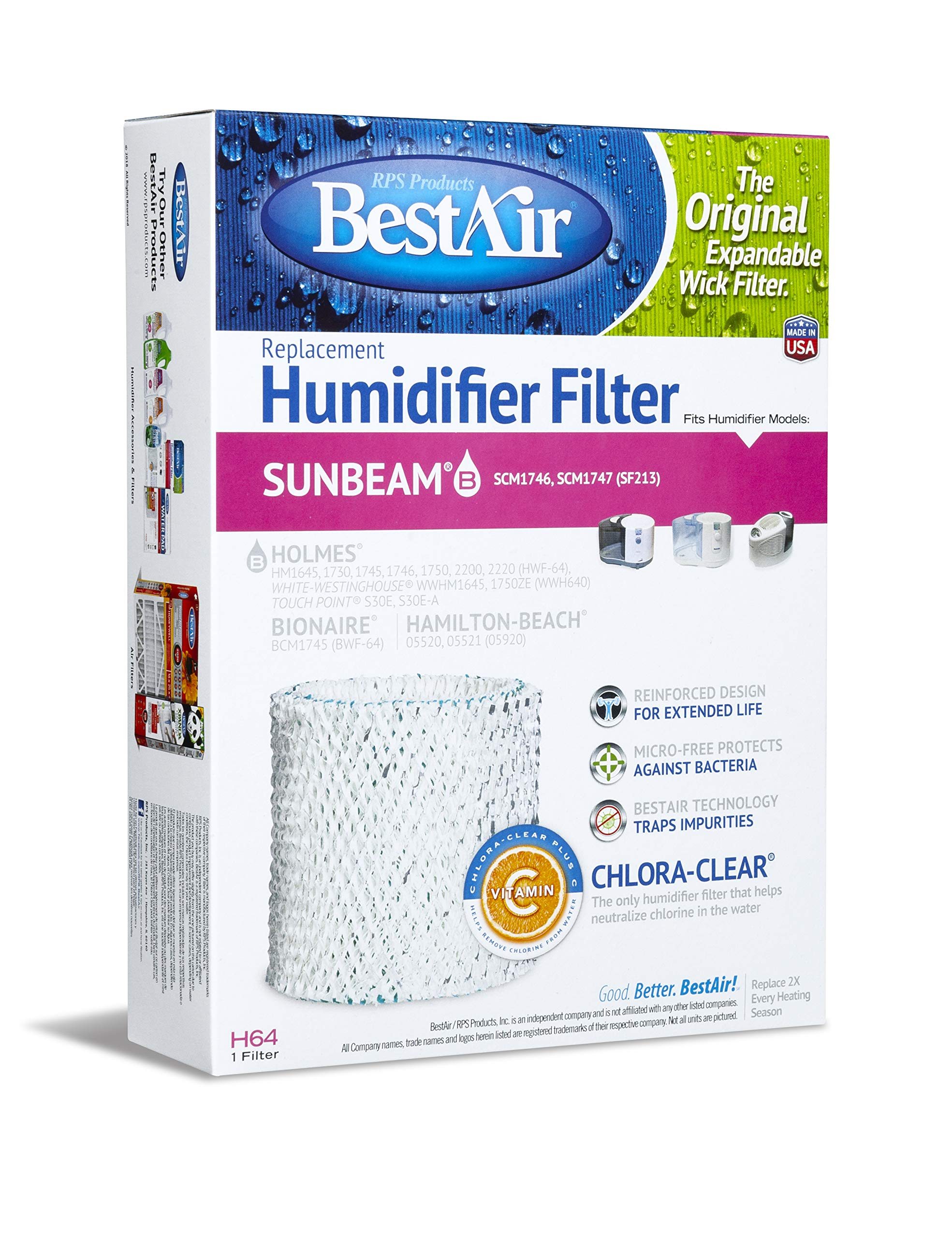 BestAir H64-PDQ-4 Extended Life Humidifier Replacement Paper Wick Humidifier Filter, For Holmes, Sunbeam, Touch Point, White-Westinghouse, Hamilton-Beach & Bionaire Models, 7.2'' x 2.4'' x 9.6'' by BestAir