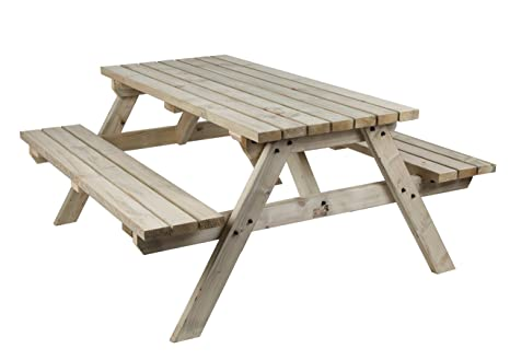 Stupendous Mc Timber Products Ltd 6Ft Picnic Table Commercial Style Quality Heavy Duty Natural Colour Wood Garden Furniture Machost Co Dining Chair Design Ideas Machostcouk