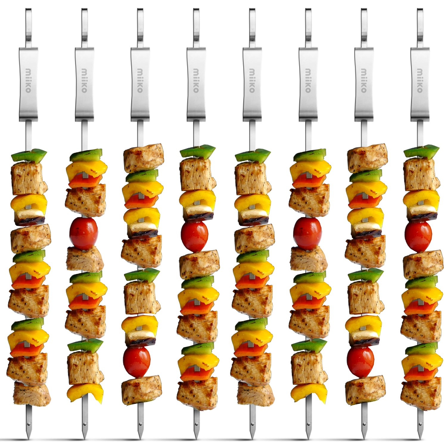 MiiKO Metal BBQ Kabob skewers - 8 Extra Long 16 inch Stainless Steel Grill skewers with Sliding Handles & Recipe e-Book