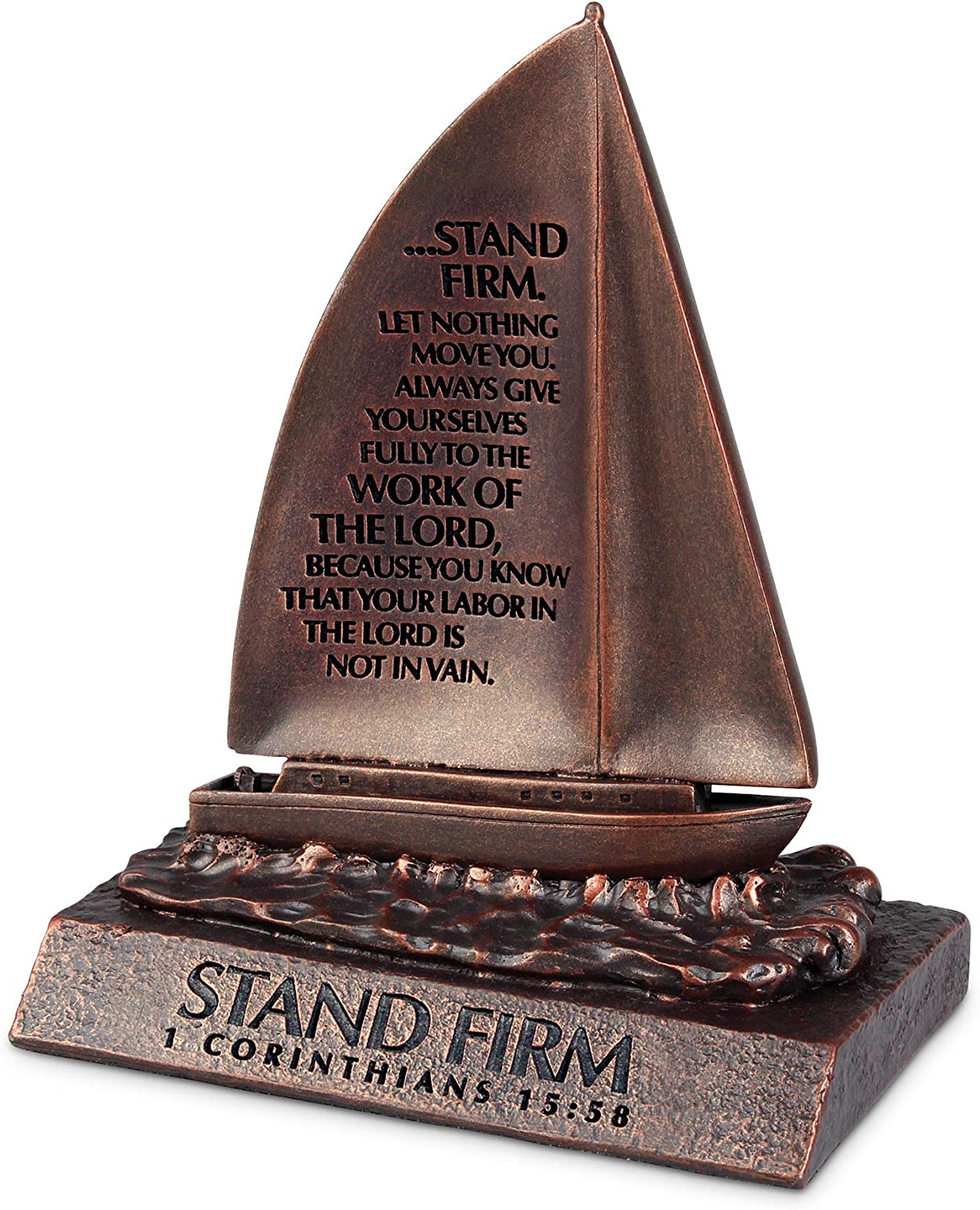 Lighthouse Christian Products Stand Firm Bronzelike Finish 4.5 x 5.25 Cast Stone Mounted Sculpture