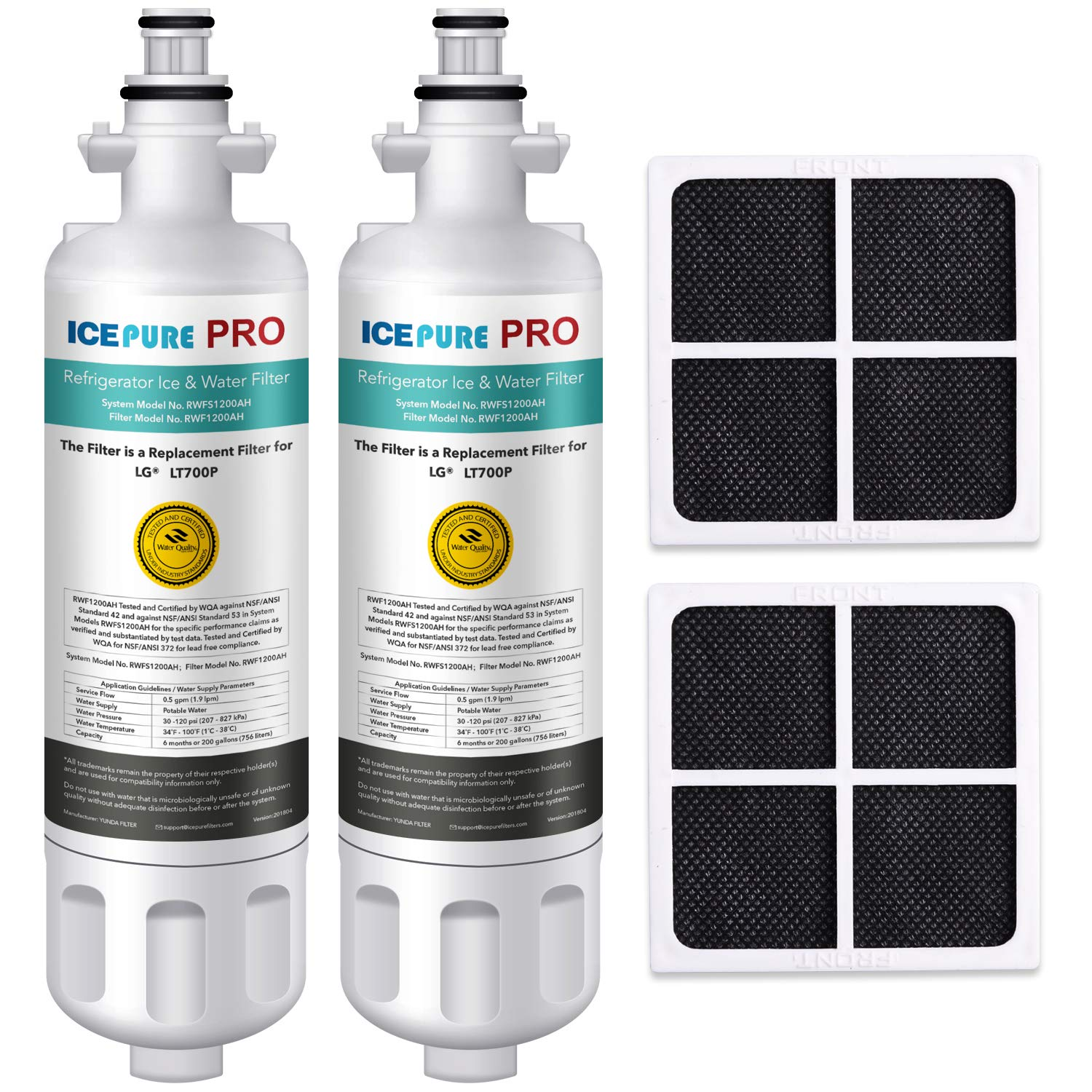 ICEPURE PRO LT700P NSF 53&42 Certified Refrigerator Water Filter and Air Filter, Compatible with LG LT700P, ADQ36006101, KENMORE 46-9690, ADQ36006102, LFXC24726S, and LT120F, RWF1200A, 2 Combo