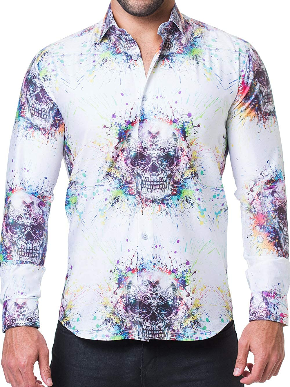 Maceoo Mens Designer Dress Shirt Stylish Trendy Fibonacci