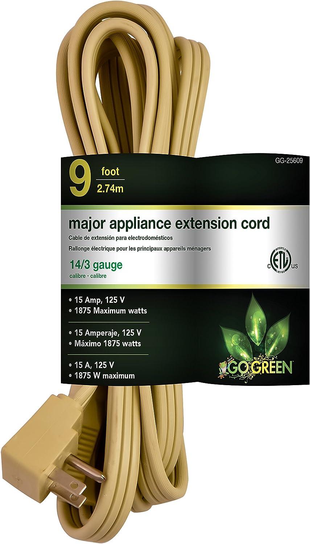 GoGreen Power GG-25609 14/3 9' SPT A/C Extension Cord - Beige