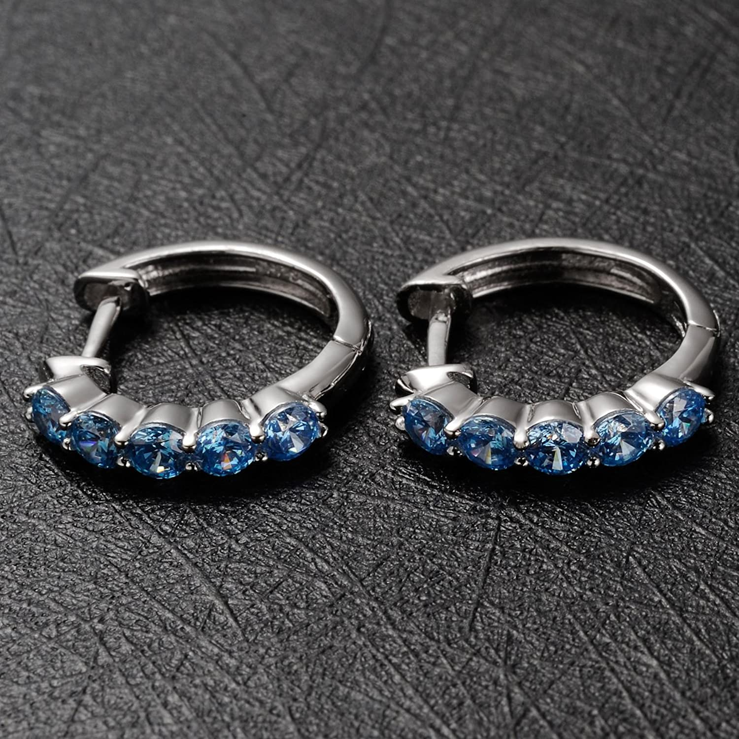 WESTMIAJW Women Genuine 925 Sterling Silver Hoop Earrings with 5A Sky Blue Cubic Zirconia,Ideal Gifts with Fashion Gift Packed