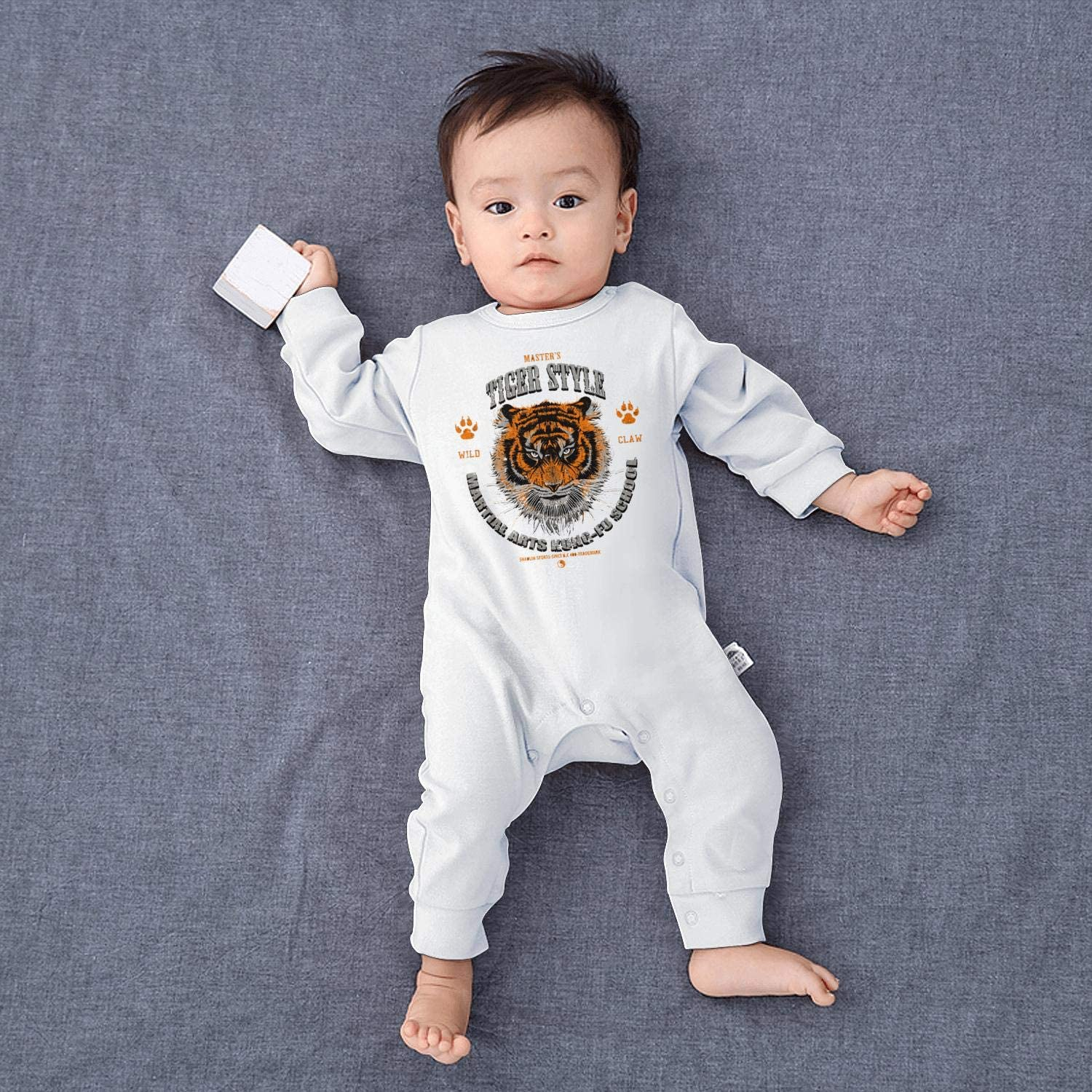 Tiger Style Wild Claw Kids Boys Girls Cool Baby Crawling Suit Lone-Sleeved Romper Bodysuit
