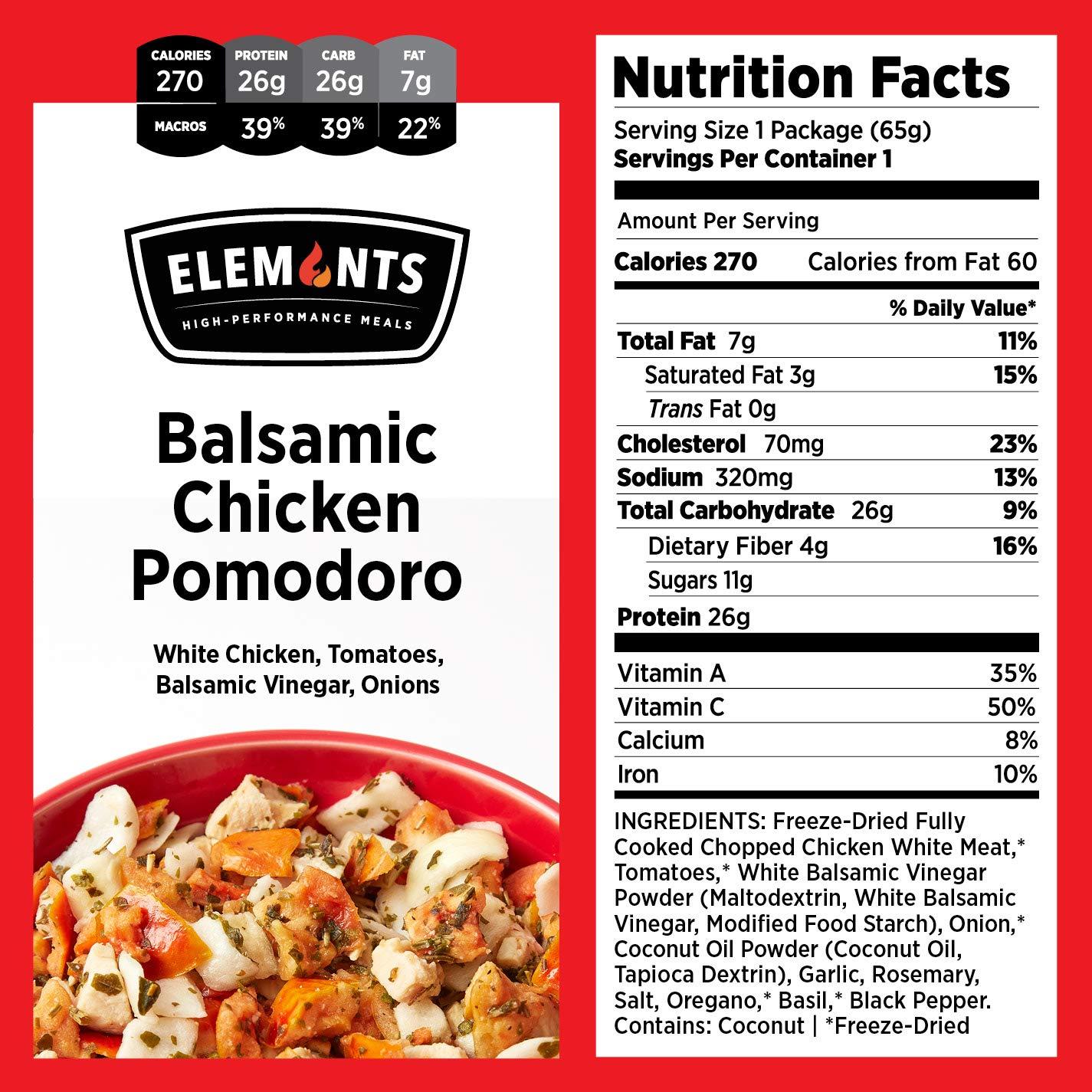 Elements Food, 10-Pack Variety Kit, Balsamic Chicken Pomodoro, Chipotle Turkey Scaramble, Maple Mustard Pork, Broccoli Cinnamon Pork, Sesame Garlic Chicken, Healthy Freeze Dried Food, Paleo Meals by Elements Food (Image #5)