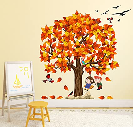 Luke and Lilly Kids and Tree Design Vinyl Wall Sticker (120 * 117cm)