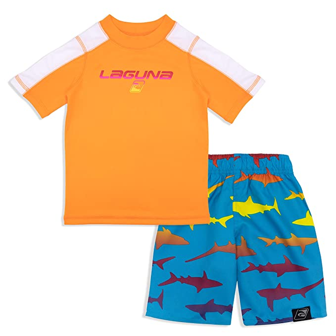d67e3814f9 LAGUNA Toddler Boys Crewneck Short Sleeve Rashguard Sun Tee and Swim Trunks  Set, UPF 50