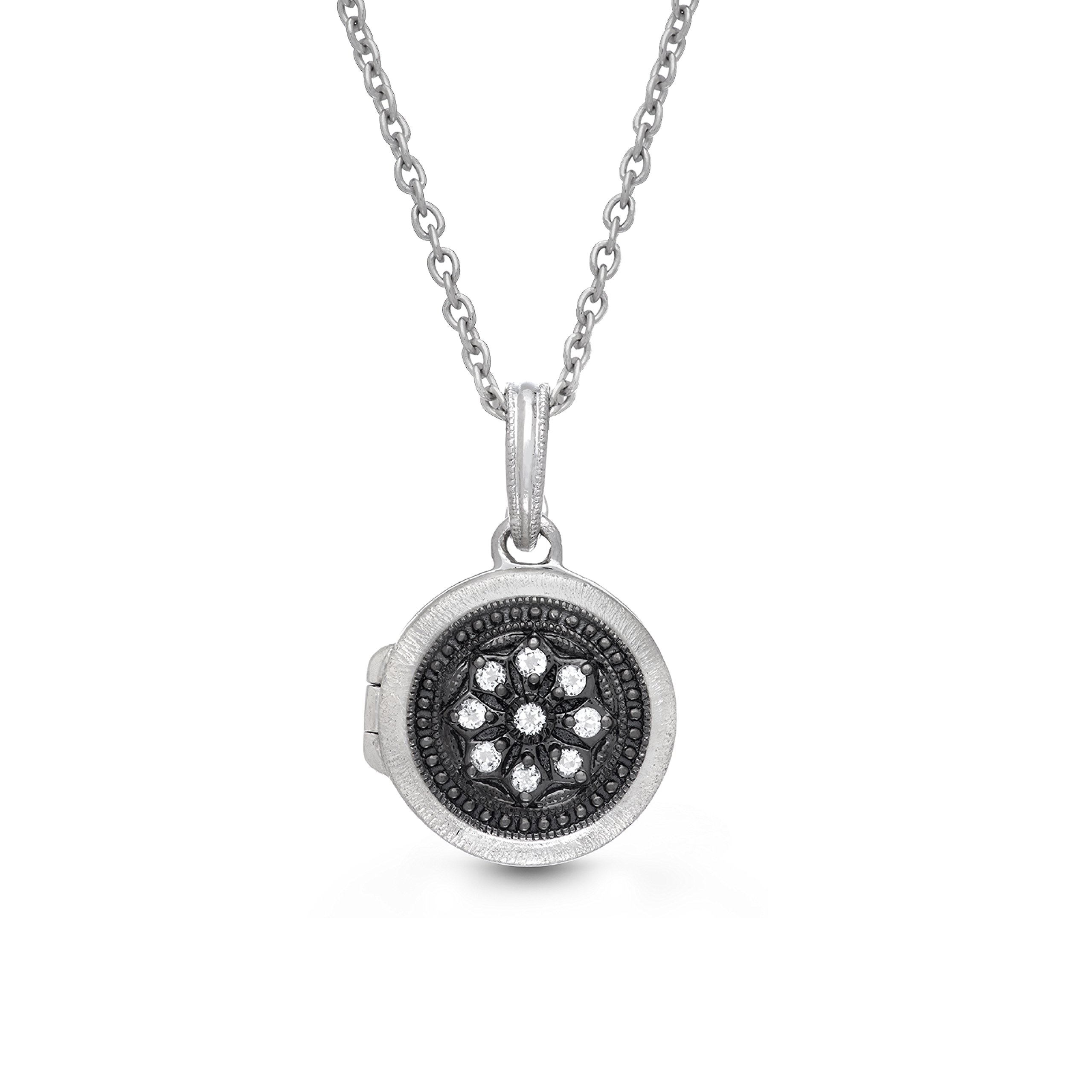 Oxidized-Sterling Silver-White Topaz-Round Custom Photo Locket Necklace-18-inch chain-The Roxette by With You Lockets