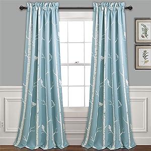 "Lush Decor Lush Décor, Blue Bird On The Tree Curtains Room Darkening Window Panel Set for Living, Dining, Bedroom (Pair) 84"" L x 52"" W"