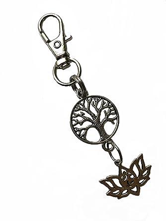 Amazon.com: Flor de loto árbol de la vida llavero cierre ...
