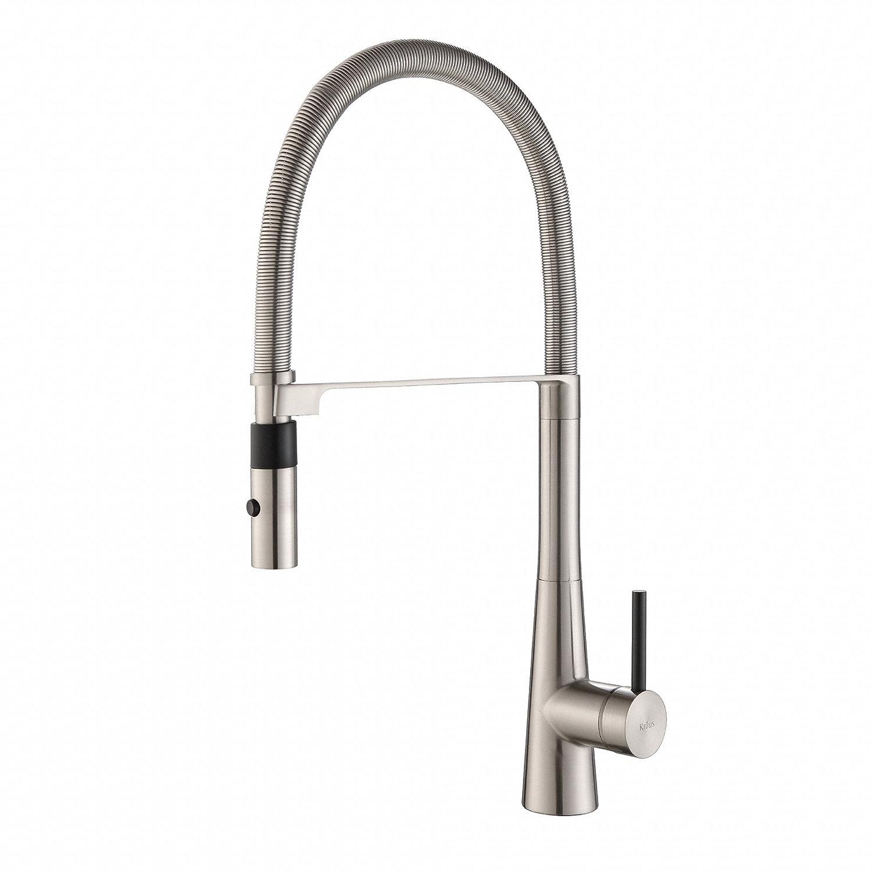 kraus kpf 2730ss modern crespo single lever commercial style kraus kpf 2730ss modern crespo single lever commercial style kitchen faucet with flex hose stainless steel amazon com