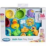 Playgro Juguetes para el Baño, 16 Piezas, Desde los 6 Meses, Sin BPA, Playgro Bath Fun Play Pack, 40115