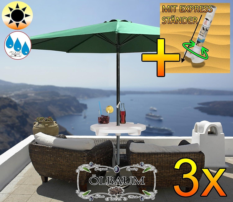 3 Stck. Großer Sonnenschirm mit Getränketisch, 300 cm / Ø 3 m (grün), Sonnendach Schirm, XXL Strandschirm, moosgrün, 8-teilig / 8-eckig massiv robust, Strandschirm, XXL-Klappschirm, Gartenschirm extrem wetterfest, klappbar, tragbar, seewasserfest, hochwertig robust stabil, Sonnenschutz, stabiler Schirm Klappschirm, dunkelgrün, Strandschirme, Sonnenschirme, Sonnenschirm-Tische, Regenschirm Picknickschirme, Gartenmöbel Holz