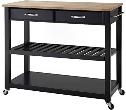 Crosley Furniture Portable Kitchen Cart With Natural Wood Top   Black